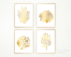 white coral home decor gold coral reef art print set of 4 real gold foil prints