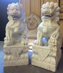 foo dogs for sale antique white marble foo dog guardian lion statues from hubei
