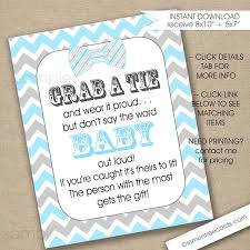 bow tie baby shower game sign instant download blue gray