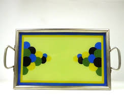 painted serving platters 79 best painted glass deco cocktail trays images on