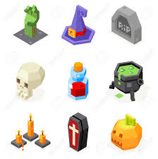 halloween icons set pumpkin witch hat cauldron grave zombie hand