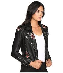 cloth moto jacket blank nyc embroidered floral detail studded moto jacket in as you