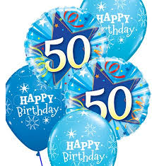 50th birthday balloons blue 50th birthday balloon bouquet party fever