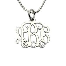 monogram initials necklace small 0 72 inch monogram necklace silver personalized monogram