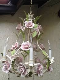 italian porcelain roses tole chandelier for sale on etsy stunning large tole flower
