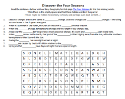 Four Worksheet Four Seasons Worksheet Free Find The Words Puzzle Earth
