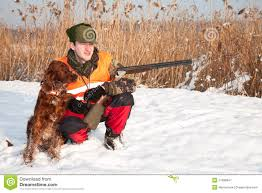 and his in winter open season stock image