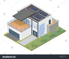 eco friendly house modern luxury isometric green eco friendly stock vector 683397796