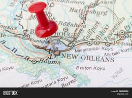 New Orleans On Map Close Up Of New Orleans Map With Red Push Pin Stock Photo U0026 Stock
