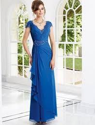 robes m re du mari mousseline de soie bleue élégante de mariage robes mère marié col