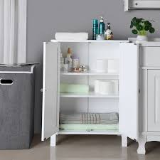 Bathroom Floor Storage Cabinets White Songmics Bathroom Floor Storage Cabinet With Door