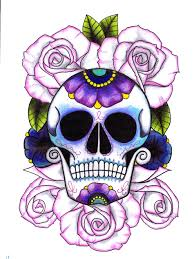 girly sugar skull and roses tattoo flash photos pictures and