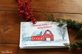 christmas cards printables winter watercolor barn knick of time
