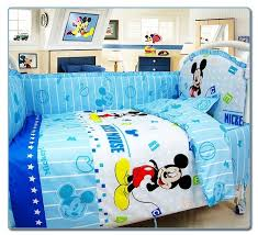 Mickey Mouse Baby Bedding Promotion 6pcs Cartoon Baby Cot Crib Bedding Set Comforter Fitted