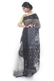 bangladeshi jamdani saree exclusive black white half half dhakai jamdani saree from bangladesh