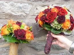 fall color bouquet color bridesmaid dresses girls