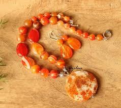 orange necklace sets images Orange statement designer gemstone beaded necklace set at 3550 jpg