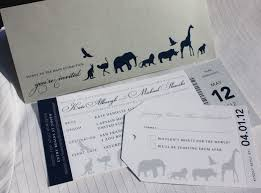 ticket wedding invitations metallic silver navy blue gray zoo ticket wedding invitations