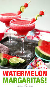 frozen watermelon margaritas summer party cocktail recipe