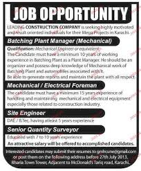Construction Foreman Resume Batching Plant Manager Electrical Foreman Job Opportunity 2017