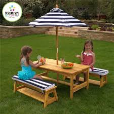 Design For Wooden Picnic Table by Amazon Com Kidkraft Outdoor Table And Chair Set With Cushions And