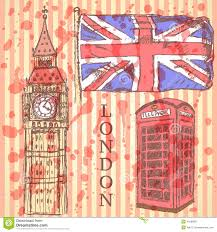 sketch big ben uk flag and phone cabin vector background stock