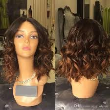 hot ombre brown short body wave bob synthetic lace front wig heat