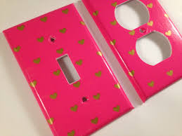 pink gold metallic heart single light switch plate cover