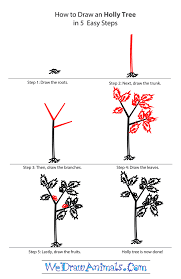 how to draw a holly tree