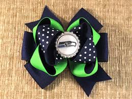 seahawk ribbon your team seattle seahawks boutique stacked bottlecap bow on
