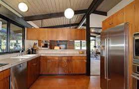 mid century modern kitchen ideas black wooden beam ceiling for amazing kitchen ideas using brown
