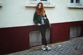 women u0027s dark green bomber jacket blue gingham dress shirt black