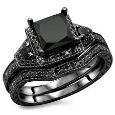 black gold wedding sets noori 14k black gold 2ct tdw certified black princess cut diamond