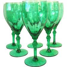 set of 6 vintage emerald green goblets wine glasses optic knobby