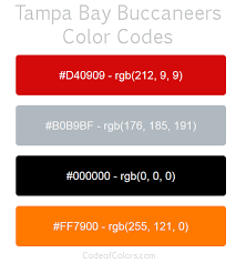 color codes ta bay buccaneers colors hex and rgb color codes