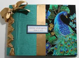 handmade photo album custom handmade wedding guestbook album peacock design theme on