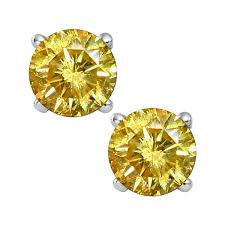 gold diamond stud earrings 14k yellow gold 1 2ct yellow diamond stud earrings
