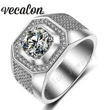 cheap engagement rings for men vecalon men engagement band ring solitaire 3ct aaa cz aaaaa zircon