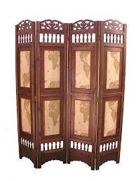 old world map room divider screen 4 panel wooden frame ebay