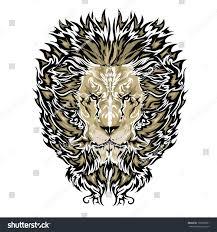 tattoo vector sketch lions face stock vector 197606051 shutterstock