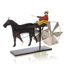 Horse Weathervane On Stand Americana Folk Art Running Horse Folk Art Whirligig Of A Driver