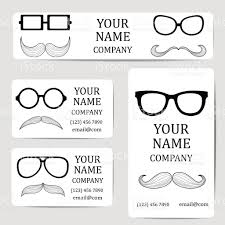 Invitation Business Cards Business Cards With Glasses And Mustache Card Or Invitation Stock