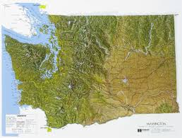 Washington State Map Outline by Raised Relief Maps Of Washington State