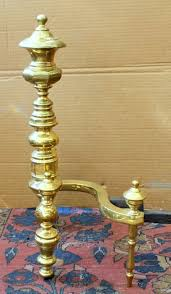 Antique Brass Fireplace Andirons by Pair Of Antique American Federal Style Sold Brass Andirons