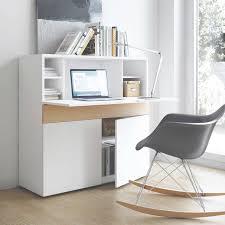 mobilier bureau maison bureau secrétaire en bois placage chêne et blanc mat l110cm focus