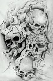 drawn smokey skull pencil and in color drawn smokey skull