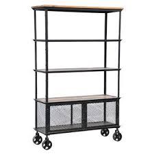storage furniture iron and wood bookcase