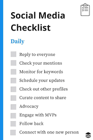 monthly work report template a daily weekly monthly social media checklist daily social media checklist
