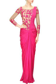 hot pink colour hot pink colour saree gown panache haute couture