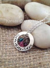 Mothers Necklace With Children S Names Hand Stamped Stacked Mom Necklace With Names And Birthstones